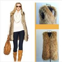2014 New women Winter Faux Fake Fur Vests Fashion Warm Long Sleeveless Vest Jacket Coat plus size S-3XL