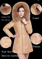New Save 90% discount genuine leather down jacket motocycle jacket real fox fur collar coat DHL/EMS Free shipping shipping FP288
