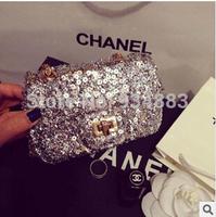 Free Shipping 2014 New Coming Paillette Ladies Small Shoulder Bag Fashion Chains Mini Messenger Bags Twinkling Casual Handbag