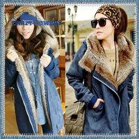 2014 Winter Women'S Wool Liner Plus Size Thick Long Denim Jeans Fur Hooded Undtachable Parka Jacket Loose Cap Coat Outerwear