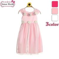 2014 girls princess flower dresses children wedding voile sleeveless  one-piece kids summer clothing