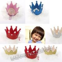 5pcs/lot Cute Kids Ribbon Headdress Girls Princess Pearls Crown White Fold Yarn Wraped Clip Baby Hair Clip 870360