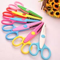 6 pcs/lot DIY Plastic Decorative Craft Enfant School Scissors for Paper Cutter Scrap booking