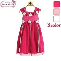 2014 girls wedding voile dress princess flower dresses children sleeveless  one-piece kids summer clothing