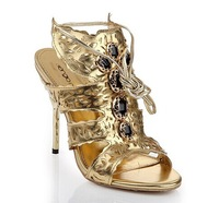 2014 New S R cutout stiletto butterfly sandals Gold Peep toe ultra-high women High Heel Rhinestone Sandals size 35 to 42