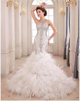 Luxury swarovski crystal bodice feathers organza ruffed mermaid wedding dress