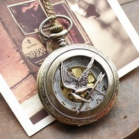 Men pocket watch hunger games bronze vintage fashion cool bird quartz analog top quality free shipping