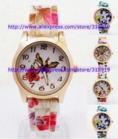 110pcs/lot Fashion Ladies Dress Quartz Watch Rose Flower Print Silicone Watches Floral Jelly Sports Candy Bracelet Watches