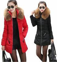 Korean fashion women winter white duck down jacket coat fur collar long design slim parkas ladies brand thick outerwear S-4XL