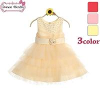 2014 new girls princess party sequin voile layered dress children lovely flower belt sleeveless one-piece kids summer clothing