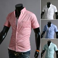 HOT Sales !Free Shipping 2014 mens Short Shirt Mens Cotton Fashion Short Sleeve Shirt,4 Colors,Turn-down Collar,Thick Solid