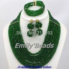 Beautiful African Wedding Beads Jewelry Set Gold Plated Jewelry Set 8 10 12 Layers Crystal Beads