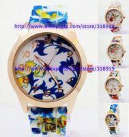 450pcs/lot 2014 New Fashion silicone GENEVA Rose Flower Watch For Women Dress Watch Quartz Watches jelly Ladies Wrist Watch