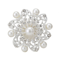 Free shipping(MOQ:10usd mixed designs)2014 high quality alloy fashion flower pearl brooch hot sell flower brooch pin