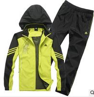 HOT! 2014 BRAND  male casual  sportswear ,men's turn-down collar tracksuit sports set (overcoat+pants)running sports wear
