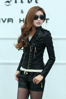 2014 spring rivets PU leather ladies motorcycle jacket leather Korean female short paragraph Slim leather jacket badges