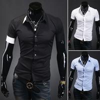 HOT Sales !Free Shipping 2014 mens Short Shirt Mens Cotton Fashion Short Sleeve Shirt,3 Colors,Turn-down Collar,Thick Patchwork