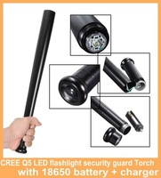 CREE Q5 LED flashlight security guard Torch Baseball Bat Shape self defense 3Mode waterproof with 18650 battery + charger