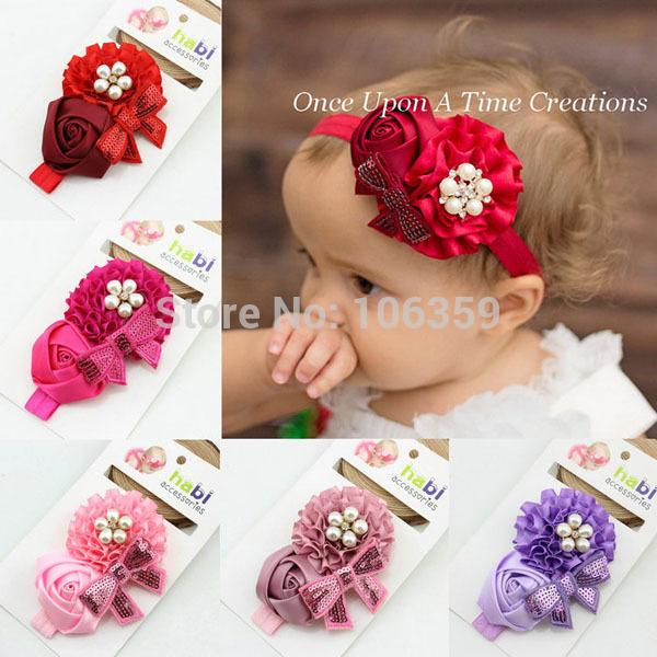 Satin Holiday Flower Baby Girl Headband Christmas Hair Bows Perfect Toddler/Newborn Photo Props Christmas Headband 10pcs HB069(China (Mainland))