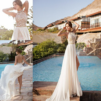 2014 Julie Vino Lace Appliqued Beach Wedding Dresses Halter Backless Beading A-Line Flowing Chiffon Skirt Cheap Bridal Gowns