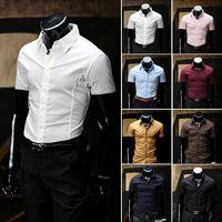 HOT Sales !Free Shipping 2014 mens Short Shirt Mens Cotton Fashion Short Sleeve Shirt,8 Colors,Turn-down Collar,Thick Solid