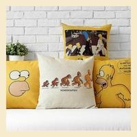 Modern Linen cotton pillow cases home decoration sofa Simpson Family cushions cover car office nap cushion 45*45cm B6439 C.C