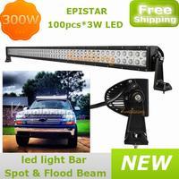 "54.8"" pick-up 4WD Epistar LED Work Light 100x3W 12V/24V Pickup 300W 4x4AWD car Flood Spot  Beam off-road Driving Light Truck"