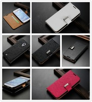 High quality New Style Luxury Flip Wallet PU leather cover case Stand For Samsung Galaxy S4 SIV I9500 Free shipping