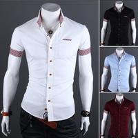 HOT Sales !Free Shipping 2014 mens Short Shirt Mens Cotton Fashion Short Sleeve Shirt,4 Colors,Turn-down Collar,Thick Plaid