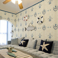 2014 Hot Sale Papel De Parede Eco-friendly T Pure Non-woven Mordern Style Sailing Boat Stripe Boy Bedroom Wallpaper Child Real
