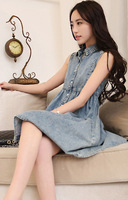 free Shipping 2014 Waisted Denim Sleeveless Cotton Dress Korean Version of The Influx of Liberal Temperament Thin Dresses 10198