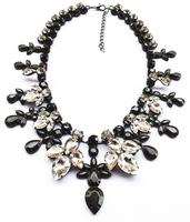 Christmas Gift Women Handmade Crystal Statement Exaggerate Rhinestone Chain Chunky Shourouk Pendant Necklace ND8337
