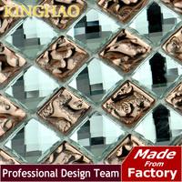 KINGHAO - Mirror Tile Black Mirror Mosaic Tile KMS08 TV KTV Background Wall glass crystal mosaic tile
