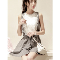 National trend o-neck sleeveless lace patchwork female one-piece dress