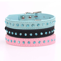 20pcs/lot 2014 new design Fashion pet collar for dogs and cats Single row of blue diamond pet Necklace dog BJ-005