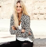 2014 women sexy leopard print  jacket blazer fashion style six  size women coat women suit blazer  one button leopard coat