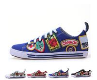 Top quality fashion DSQ  women&men Graffiti Sneakers lovers shoes  D2 sneakers for women Canvas lace-up women shoes