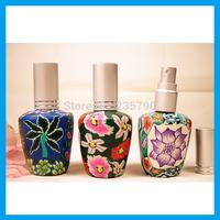 Wholesale - 15ml Color Flower Perfume Glass Bottle Spray Bottle Perfume Dispenser 10pcs/lot L016