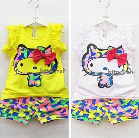 AliExpress.com Product - Summer Girls Clothes Suits Girls Children set love print female child sleeveless T-shirt + shorts flower new Free Shipping