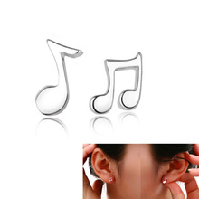 Delicate High Quality 2014 New Arrival Fashion Cute Lovely Musical Note Silver Stud Earrings for Women Girls Earring Jewelry