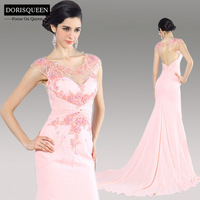 Dorisqueen 31136 Elegant long Pink Court Train Back Keyhole Mermaid Evening Dress 2014Flower Heavy Sequins Formal evening gowns