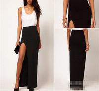Sexy High Waist Rayon Jersey Side Open Leg Slit Split Long Maxi Thigh Skirt Hot