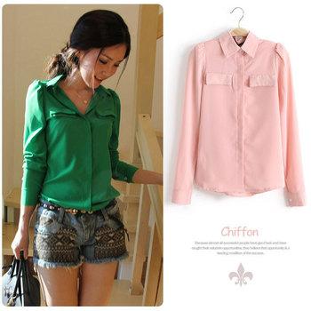 Free Shipping 2015 Spring Autumn Tops Korean Women Fashion Clothing Casual Green/Pink Long Sleeve Chiffon Blouses Office Shirts