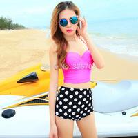 Free shipping split dot bikini beach swimwear swimsuit female models waist was thin cover belly / strip care swimwear /beach/spa