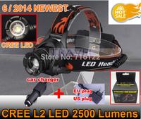 6/2014 NEWEST HEADLAMP 2500LM Lumen CREE U2 LED Headlight Flashlight head lamp light Camping Headlight + AC Charger +Car Charger