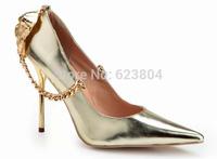 New Season Style 2014 Lion Head Decor Heels  Closed Toe Formal Pumps Women High Heels with Chain