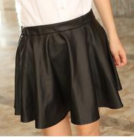 Women's Elastic waist PU Leather skirt 2014 new spring fashion Lady Sexy Short Mini Pleated elegant puff tutu best brand skirt