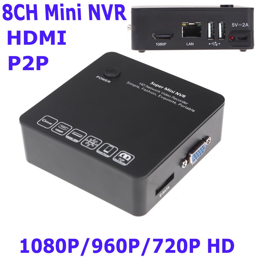8CH Mini NVR IP Camera Recorder Surveillance 1080P/960P/720P HD Cloud P2P ONVIF HDMI E-SATA HDD Connection 2 USB Black(China (Mainland))