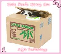 New cute Money Box Saving Box Automated Panda steal coin bank Christmas Gift saving money box coin bank