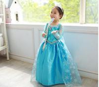 2014 Girls Frozen Princess Dresses kids Blue Polyester Elsa Children Party one-piece summer clothing